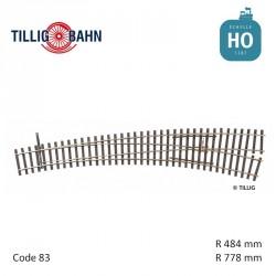 Aiguillage courbe à droite Elite R778/484mm 9° code 83 HO Tillig 85313 - Maketis