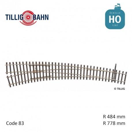 Aiguillage courbe à gauche Elite R778/484mm 9° code 83 HO Tillig 85314 - Maketis