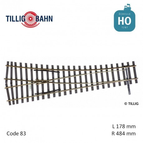 Aiguillage à droite Elite EW2 R484mm 15° code 83 HO Tillig 85323 - Maketis