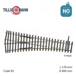 Aiguillage à gauche Elite EW2 R484mm 15° code 83 HO Tillig 85324