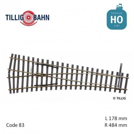 Aiguillage à gauche Elite EW2 R484mm 15° code 83 HO Tillig 85324 - Maketis