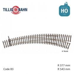 Aiguillage courbe à droite Elite R543/377mm 9° code 83 HO Tillig 85333 - Maketis