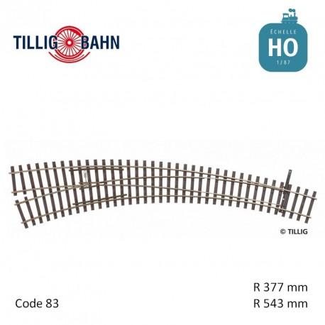 Aiguillage courbe à gauche Elite R543/377mm 9° code 83 HO Tillig 85334 - Maketis
