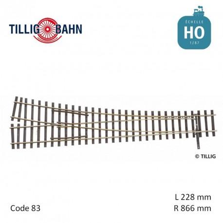 Aiguillage à droite Elite EW1 R866mm 11° code 83 HO Tillig 85343 - Maketis