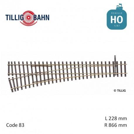 Aiguillage à gauche Elite EW1 R866mm 11° code 83 HO Tillig 85344 - Maketis
