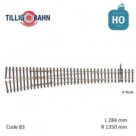 Aiguillage à gauche Elite EW3 R1350mm 9° code 83 HO Tillig 85354 - Maketis