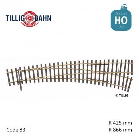 Aiguillage courbe à droite Elite R866/425mm 11° code 83 HO Tillig 85363 - Maketis