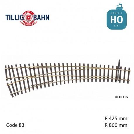 Aiguillage courbe à gauche Elite R866/425mm 11° code 83 HO Tillig 85364 - Maketis