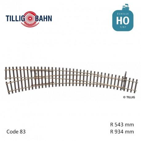 Aiguillage courbe à gauche Elite R934/543mm 9° code 83 HO Tillig 85374 - Maketis