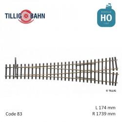 Aiguillage symétrique Elite R1739mm 15° code 83 HO Tillig 85381