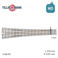Aiguillage symétrique Elite R2707mm 12° code 83 HO Tillig 85383