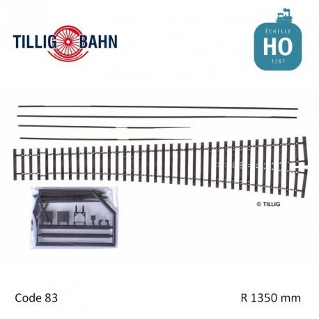 Aiguillage flexible Elite EW3 R1350mm 9° code 83 HO Tillig 85451 - Maketis