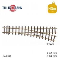 Aiguillage à droite Elite R490mm 18° code 83 HOm Tillig 85631 - Maketis