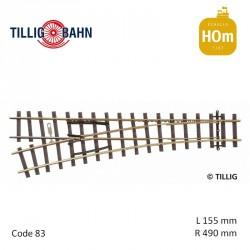 Aiguillage à gauche Elite R490mm 18° code 83 HOm Tillig 85632 - Maketis
