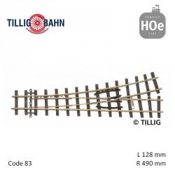 Aiguillage à gauche Elite R409mm 18° code 83 HOe Tillig 85638 - Maketis