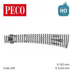 Aiguillage courbe à droite Streamline Electrofrog R1524/762mm 12° code 100 HO Peco SL-E86 - Maketis