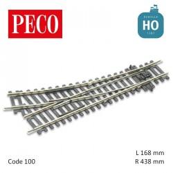 Aiguillage à droite Streamline Insulfrog R438mm 22,5° code 100 HO Peco ST-240 - Maketis