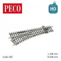 Aiguillage à gauche Streamline Insulfrog R438mm 22,5° code 100 HO Peco ST-241 - Maketis