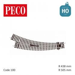 Aiguillage courbe à droite Setrack Insulfrog R505/438mm 11,25° code 100 HO Peco ST-244 - Maketis