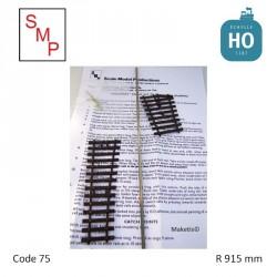 Kit aiguillage droite 36 R915mm code 75 HO SMP OO36R - Maketis