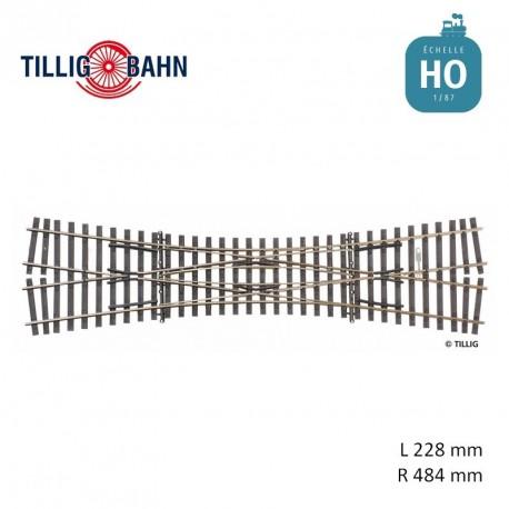 Traversée jonction double Elite 15° R484 L 228 mm code 83 HO Tillig 85390 - Maketis
