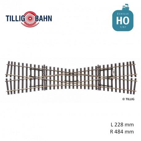 Traversée jonction simple Elite 15° R484 L 228 mm code 83 HO Tillig 85395 - Maketis