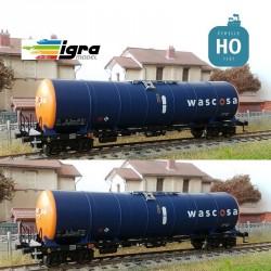 Set 2 wagons citernes Zacns 98 Wascosa orange/bleu EP VI HO Igra Model IG96110010