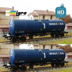 Set 2 wagons citernes Zacns 88 Wascosa bleu/bleu EP VI HO Igra Model IG96210021