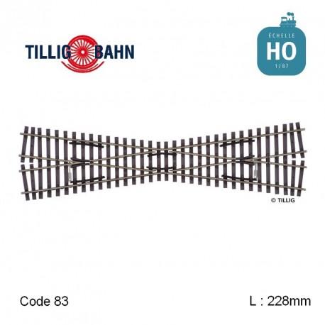 Croisement Elite 15° L 228 mm code 83 HO Tillig 85160 - Maketis
