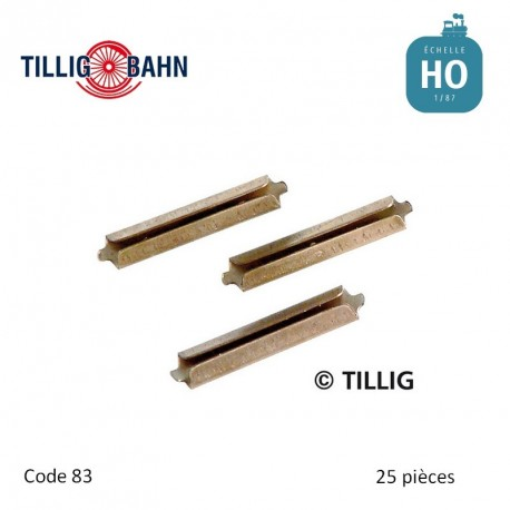 Eclisses métalliques brunies (25 pièces) code 83 HO Tillig 85501 - Maketis