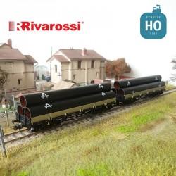 Coffret 2 wagons plats à bogies Remms DB chargement de tubes Ep IV HO Rivarossi HR6477 - Maketis