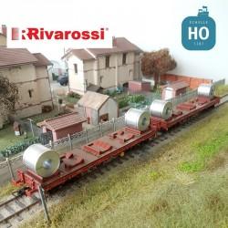 Coffret 2 wagons plats à bogies Rhmms-X FS chargement de Coils Ep V HO Rivarossi HR6478 - Maketis