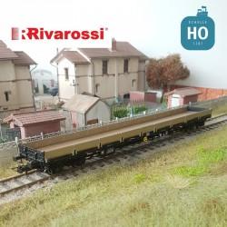 Wagon plat à bogies Res DB livrée noir/gris Ep IV HO Rivarossi HR6481 - Maketis