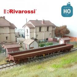 Wagon plat à bogies Res DB livrée marron Ep IV HO Rivarossi HR6483 - Maketis