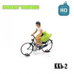 Cycliste femme HO prêt à rouler pour système Magnorail KKb-2
