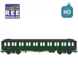 Voiture Métallisée ExPLM B8 vert 306 SNCF EP IIIb HO REE VB-412 - Maketis