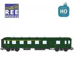 Voiture Métallisée ExPLM A4D feux de fin de convoi vert 306 SNCF EP IIIb HO REE VB-414 - Maketis
