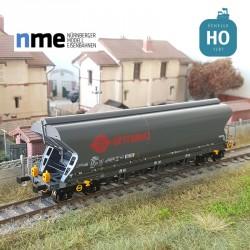 Wagon céréalier Tagnpps 101m³ ERMEWA gris avec feux de fin de convoi SNCF EP VI HO NME 512694