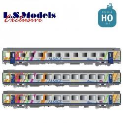 Set 3 voitures Corail VTU TER ALSACE Ep.V-VI SNCF HO LS Models 41208 - Maketis