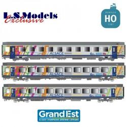 Set 3 voitures Corail VTU TER ALSACE Ep.VI SNCF HO LS Models 41209
