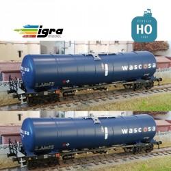 Set 2 wagons citernes Zacns 98 Wascosa bleu/bleu EP VI HO Igra Model IG96110012
