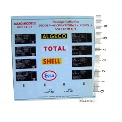 Planche pour 4 citernes Total - Algeco - Shell - Esso - SNCF Ep III et IV