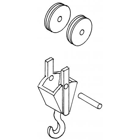 Crochet pour grue avec deux poulies HO Weinert 4442