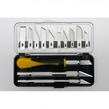Coffret 3 couteaux de précision Holi et 10 lames différentes