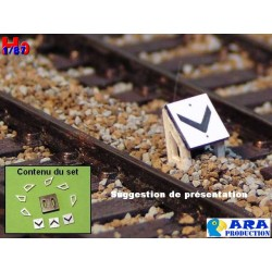 SNCF 3 plaques chevron pour entrevoie réduite