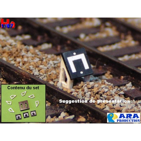 SNCF 3 plaques gabarit pour entrevoie réduite