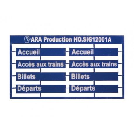 Accueil, Accès aux trains, Billets, Départs. Pancartes Gare SNCF