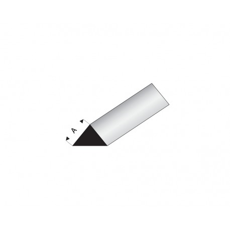 Profilés blanc super styrène triangle 90° - 7mm Longueur 1m