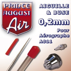 Aiguille & Buse 0,2 pour aérographe A011 Prince August PAAA022 - MAKETIS