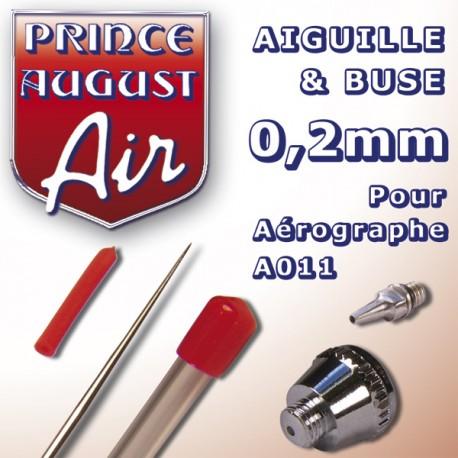 Aiguille & Buse 0,2 pour aérographe A011 Prince August
